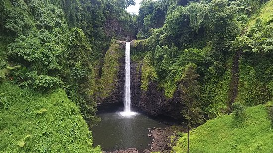 Apia, Samoa: One of the many beautiful waterfalls on our tours in Samoa