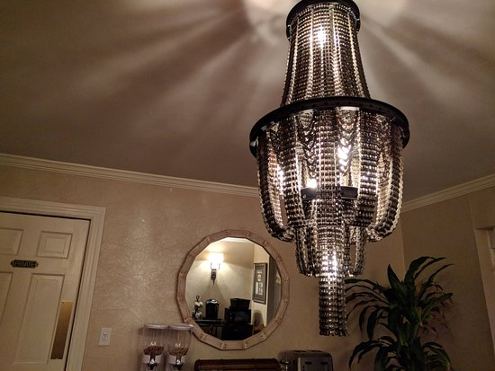 Stony Brook, NY: The bike chain chandelier in the dining room.