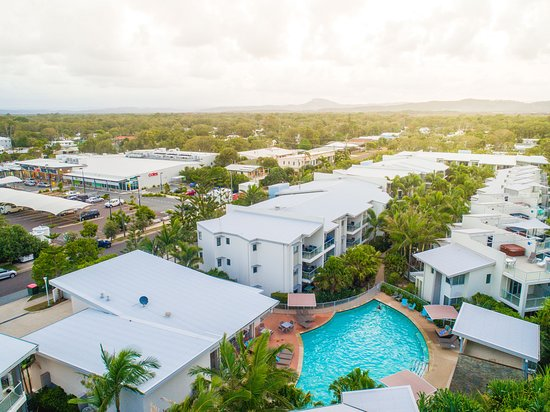 Coolum Beach, Australia: Aerial view of Coolum at the Beach resort - with a view towards Coles shopping complex to the le