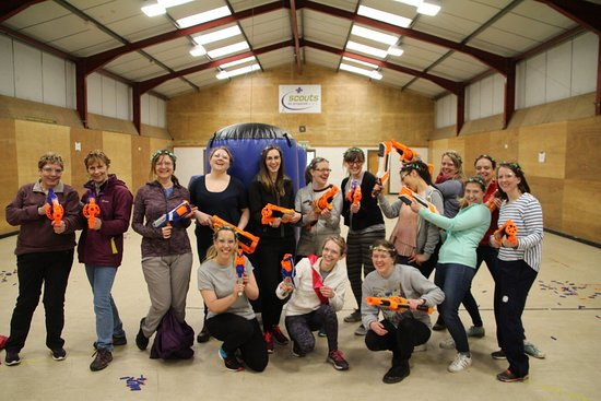 """Great Harwood, UK: Nerf Wars for a group of """"Hens""""...they also took apart in air rifle shooting & tomahawk throwing"""