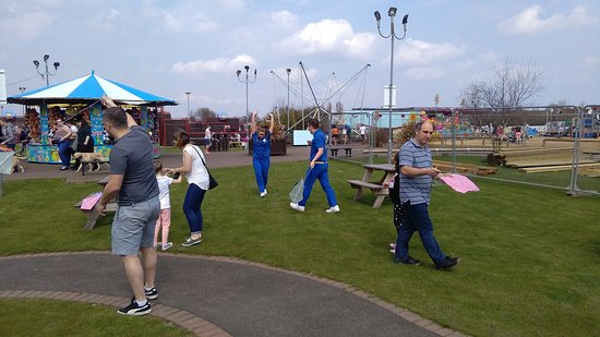 Golden Sands Holiday Park - Haven: Flying the kites outside to see if they work.