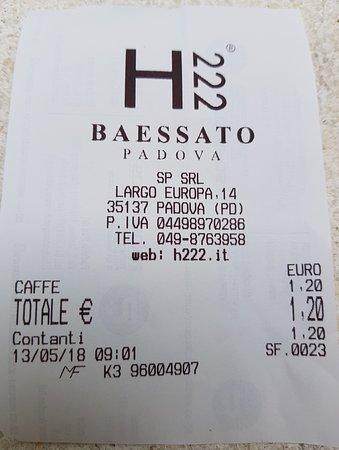 Baessato Padova: scontrino