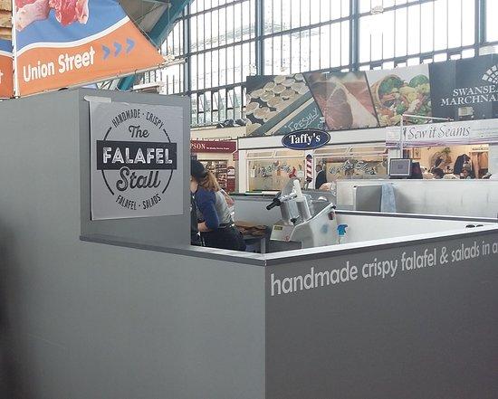 Swansea County, UK: The Falafel Stall in Swansea market