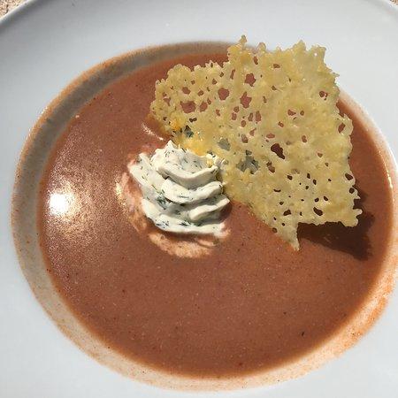 Les Canetons : Gaspacho de homard, crème aux herbes