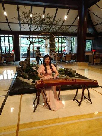 Four Seasons Hangzhou at West Lake: Lovely guzheng (traditional Chinese harp) music player