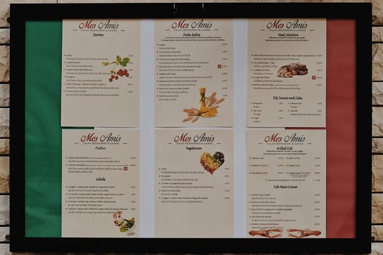 Mes Amis Restaurant & Lounge: Menu outside