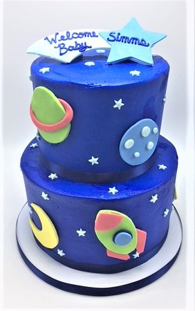 Flavor Cupcakery & Bake Shop: 2 Tier Space Themed Boy Baby Shower Cake by Flavor Cupcakery