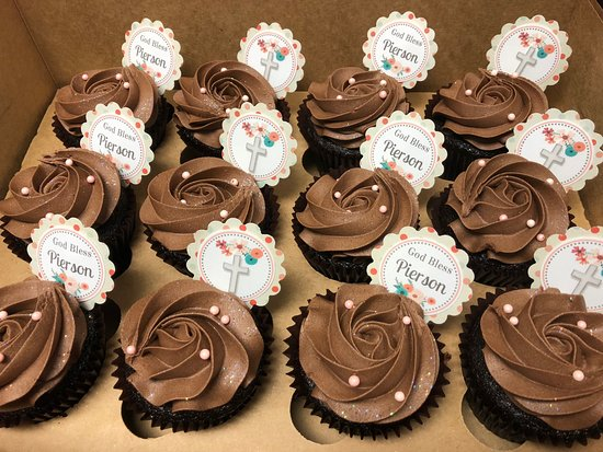 Flavor Cupcakery & Bake Shop: Chocolate Rosette Style Communion Cupcakes with Part Picks by Flavor Cupcakery