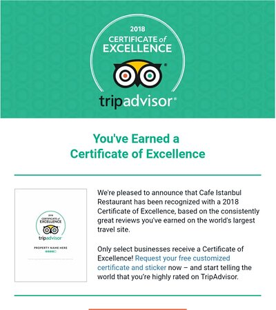 certificate of excellence 2018 cafe istanbul restaurant