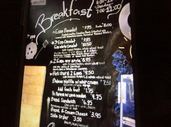 Lei Petite Bakery & Coffee Shop: Menu on the wall