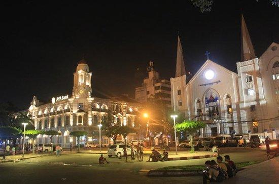 Passeio a pé de Yangon e pôr do sol...