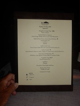 Petit St.Vincent: Dinner Menu