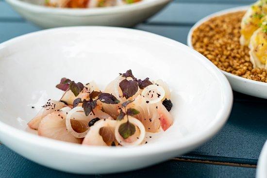 Stanton & Co: King fish sashimi, smoked garlic, yuzu soy