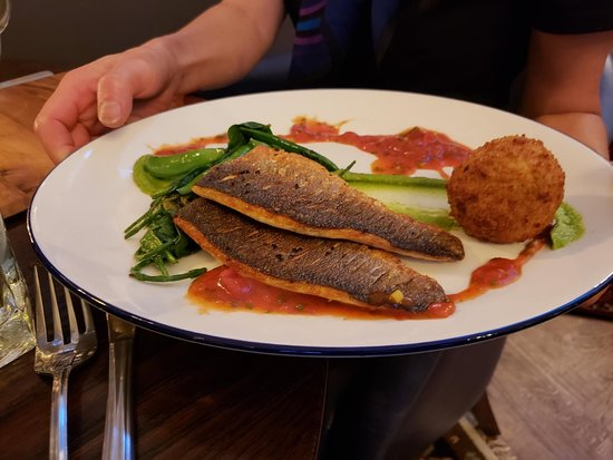The Old Courthouse: Grilled Sea Bass with Crab Croquette.