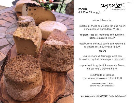 Verduno, إيطاليا: menù dal 25-29 maggio