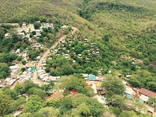 View of the town below Mount Popa