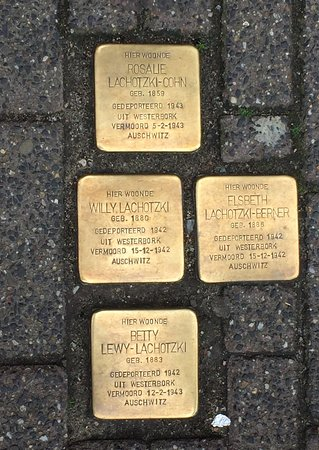 Amsterdam Walking Tour: Street memorial to Jews commemorating people killed by Nazis in WWII