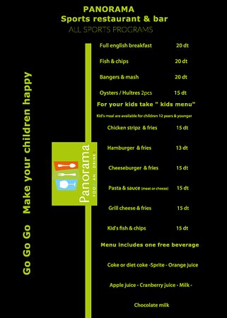 Restaurant Panorama: kid's menu and english food