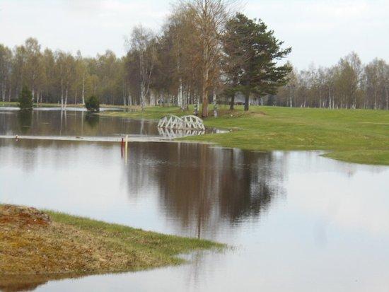 Ljusdal, Sweden: Hög vattennivå utanför golfrestaurangen