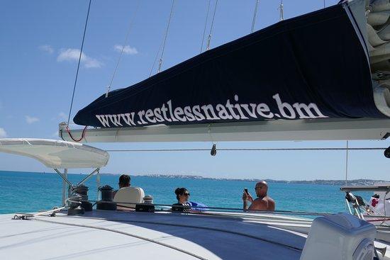 Bermuda Catamaran Sail and Snorkel Tour: On the catamaran Restless Native.