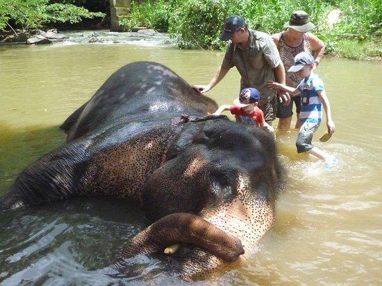 Kegalle, Sri Lanka: Wassen in de rivier