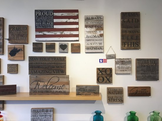 Harmony Ridge Gallery: Wooden wall art made from old barn wood.