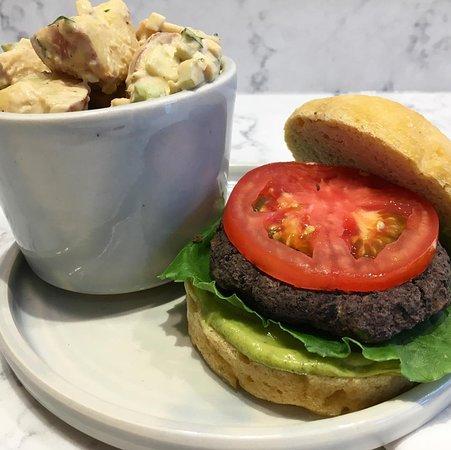 Chestertown, MD: black bean burger and potato salad!