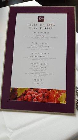 Roy's Restaurant: Napa Wine Dinner Menu