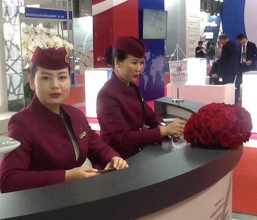Shanghai New International Expo Centre (SNIEC): SIAL 2018: Qatar Cargo in the N1 of the SNIEC.