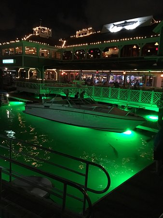 15th Street Fisheries: View of water when they put the lights on at night