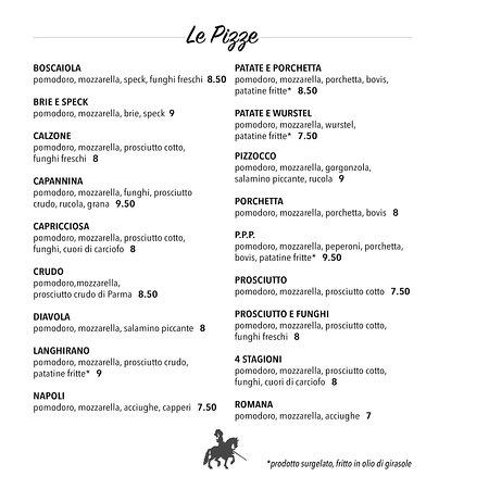 San Gregorio nelle Alpi, Italy: Menu pizze