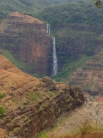 Waimea Canyon State Park: Waterfall as Seen from Main Lookout