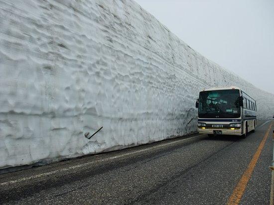 Tateyama Kurobe Alpine Route: Snow wall on a foggy day
