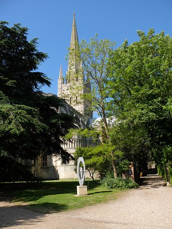 Norwich Cathedral: View from the approach from Bishopgate.