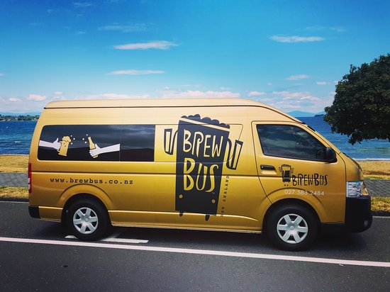 Bay of Plenty Region, New Zealand: Our maiden Brewbus on the shores of Lake Taupo.