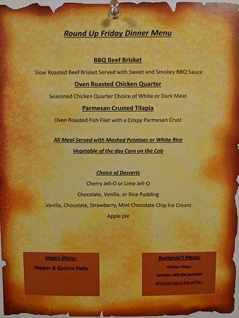 Pine Ridge Dude Ranch: Sample Dinner Menu