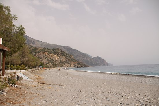 Looking along Sougia Beach from the taverna