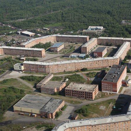 Igarka, Russland: Игарка, аэропорт и чёрная речка рядом с городом