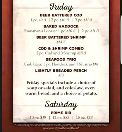 Schofield, WI: Classic Wisconsin Fish Fry Menu - Served Fridays