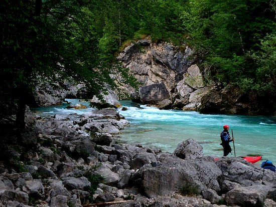 Guided Sit-on-top Kayak Trip on Soca River: Enjoying the river