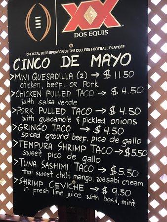 Taco Cantina Mexican: Cinco de Mayo Menu