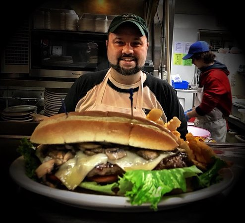 Skowhegan, ME: Mushroom Burger YUM!!!!!!