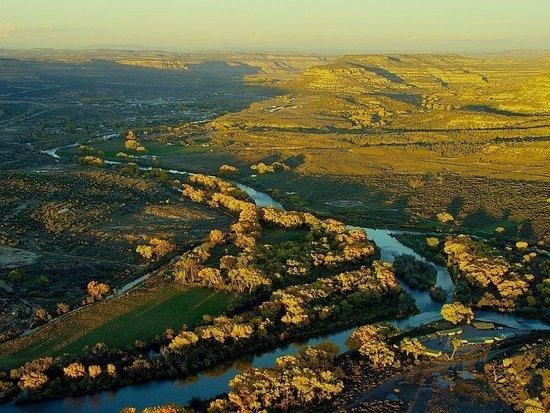 Navajo Dam, NM: Beautiful birds eye view of the famous San Juan River and the Soaring Eagle Lodge.