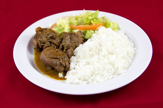 Singh's Roti Shop & Bar: Stewed Chicken with Lentils, white rice and salad