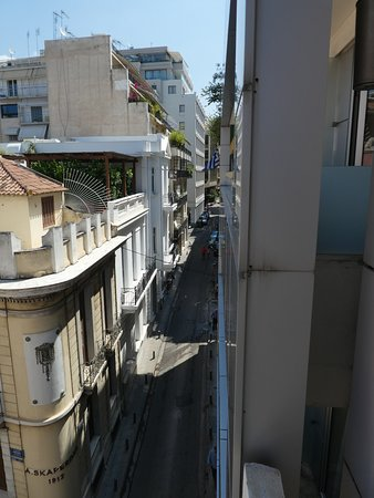 Street view from our room and front of hotel