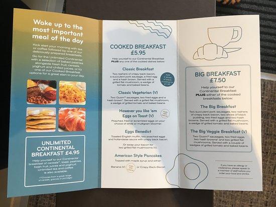 Lock Keeper by Marston's Inns: Breakfast menu, May 2018