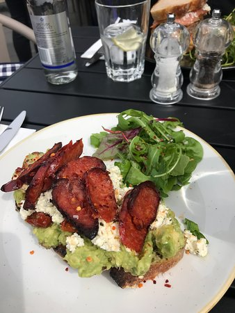 Avocado toast with feta and chorizo