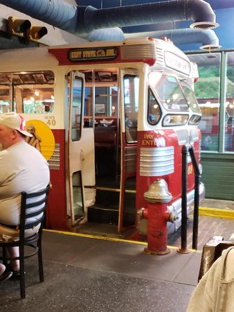 Kent, OH: The bus inside Mike's place, where you can set and eat.