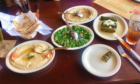 East Amherst, NY: Left to Right: Hummus, Diwali, Kibbie, Beef Kafta Roll, Tabouli and Baclava Cheese Cake