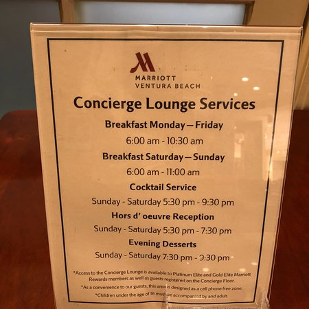 Ventura Beach Marriott: Concierge level